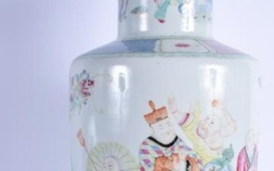 A GOOD 19TH CENTURY CHINESE FAMILLE ROSE ROULEAU VASE