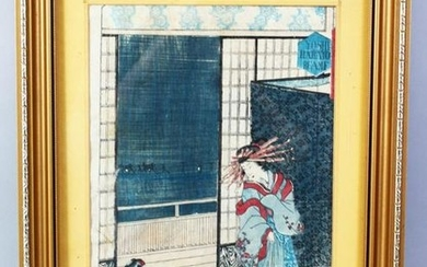 A GOOD JAPANESE MEIJI PERIOD WOODBLOCK PRINT OF A LADY