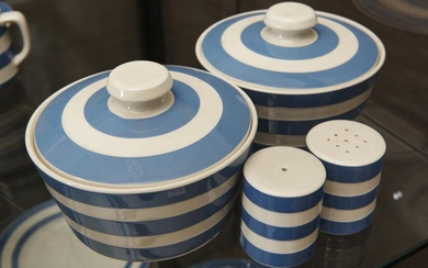 A GROUP OF BLUE AND WHITE CORNISHWARE ITEMS COMPRISING SALT AND PEPPER SHAKERS AND TWO LIDDED TUREENS, LEONARD JOEL LOCAL DELIVERY S...