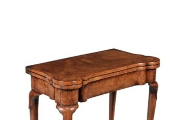 A George II walnut and feather banded card table, circa 1730