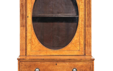 A George III satinwood, rosewood crossbanded and purple wood secretaire display cabinet