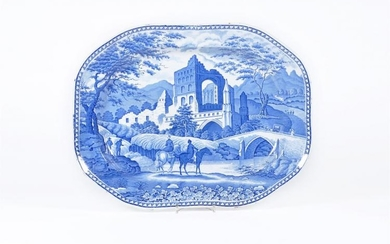 A Hamilton of Stoke 'Gothic Ruins' pattern shaped rectangular meat dish