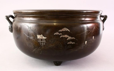 A LARGE CHINESE SILVER INLAID BRONZE CENSER, the front