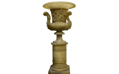 A LATE 19TH CENTURY ITALIAN CARVED ALABASTER URN ON STAND