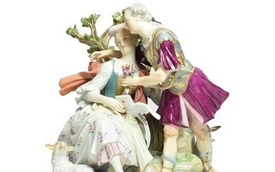 A Meissen Porcelain Figure Group, circa 1880, as lovers, he...