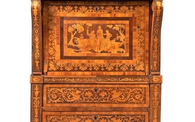 A NORTH ITALIAN WALNUT, FRUITWOOD, TULIPWOOD AND MARQUETRY SECRETAIRE-A-ABATTANT, MID-19TH CENTURY