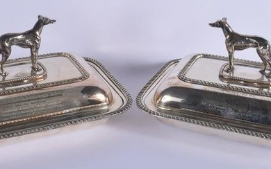 A PAIR OF 1950S SILVER PLATED GREYHOUND SERVING TUREENS