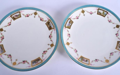 A PAIR OF ANTIQUE MINTON PLATES painted with boats and