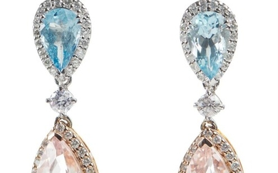 A PAIR OF AQUAMARINE, MORGANITE AND DIAMOND DROP EARRINGS IN 18CT WHITE AND ROSE GOLD, TO POST AND BUTTERFLY FITTINGS, LENGTH 30MM,...