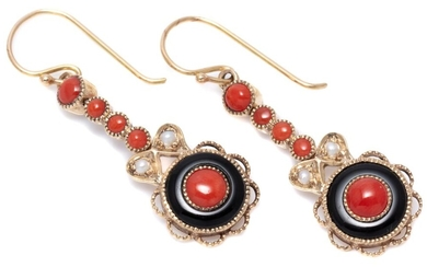 A PAIR OF DECO STYLE STONE SET EARRINGS; 9ct gold target drops each set with a coral bead and ring of onyx to line drop of seed pear...
