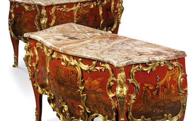 A PAIR OF FRENCH ORMOLU-MOUNTED RED LACQUER BOMBE COMMODES, OF LOUIS XV STYLE, THE ORMOLU MOUNTS SECOND-HALF 19TH CENTURY, THE CARCASSES POSSIBLY INCORPORATING EARLIER ELEMENTS