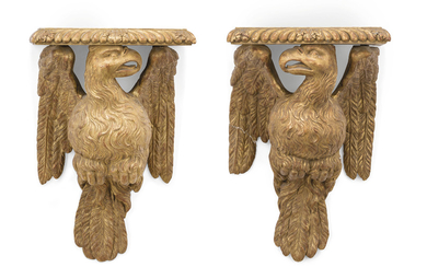 A PAIR OF GEORGE II GILTWOOD WALL-BRACKETS, MID-18TH CENTURY