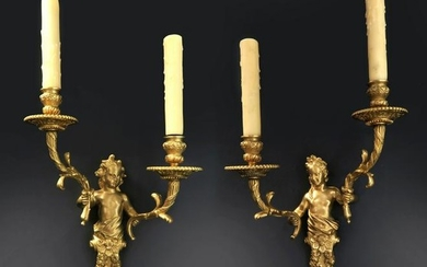 A Pair Of Henry Dasson Figural Bronze Sconces