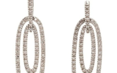 A Pair of 10 Karat White Gold and Diamond Earrings,
