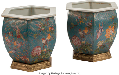 A Pair of Chinese Cloisonne Enameled Porcelain Planters on Gilt Wood Bases