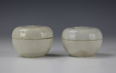 A Pair of Chinese White-Glazed Melon Shaped Porcelain