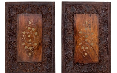 A Pair of Continental Carved Walnut and Brass Inlaid