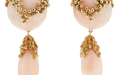 A Pair of Coral and Gold Earrings