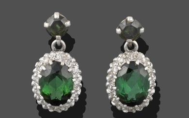 A Pair of Green Tourmaline and Diamond Cluster Drop Earrings,...