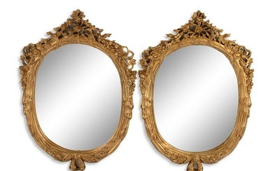 A Pair of Louis XV Style Gilt Composition Mirrors