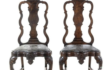 A Pair of Queen Anne Style Walnut Side Chairs