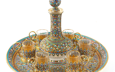 A RUSSIAN GILT SILVER AND CLOISONNE ENAMEL-MOUNTED GLASS VODKA SET, ST. PETERSBURG, 1895