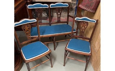 A Three piece late Victorian/ Early Edwardian parlour suite....