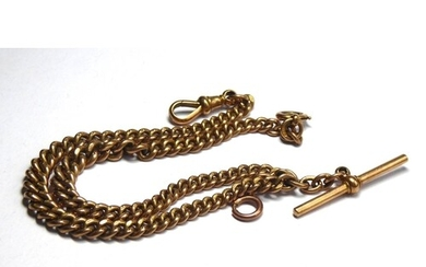 A VICTORIAN 9CT GOLD DOUBLE ALBERT WATCH CHAIN Graduated lin...