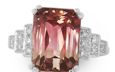 A WATERMELON TOURMALINE AND DIAMOND DRESS RING set with