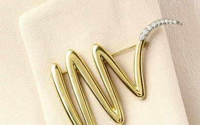 A brilliant-cut diamond terminal squiggle brooch, by