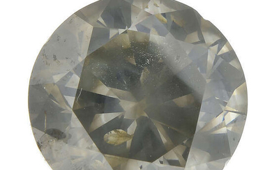 A brilliant-cut 'fancy dark greenish-grey' diamond, weighing 3.98cts.