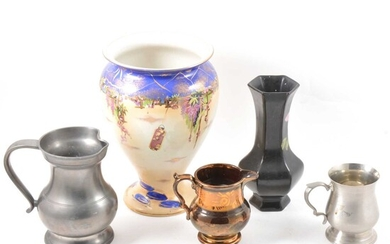 A collection of ceramics and pewter ware.