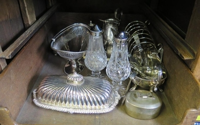 A collection of silver plate, including a three piece tea se...