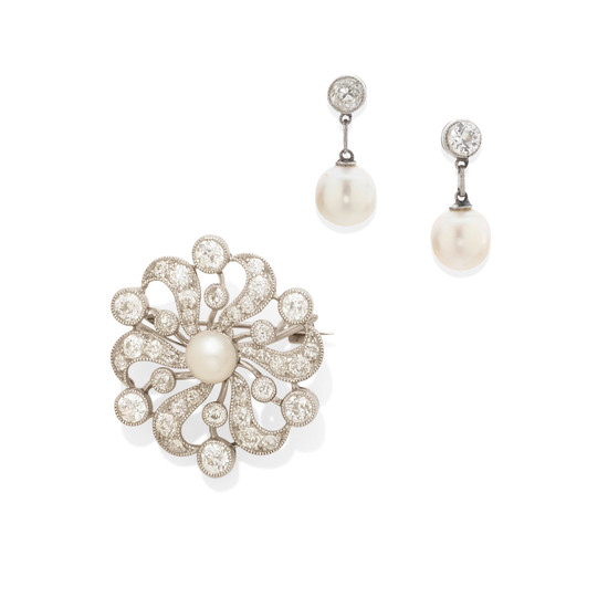 A cultured pearl and diamond brooch together with a pair of cultured pearl and diamond earrings