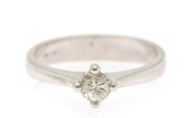 A diamond ring set with a brilliant-cut diamond weighing app. 0.30 ct., mounted in 18k white gold. Size 54.
