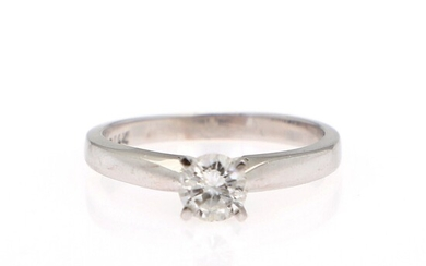 A diamond ring set with a brilliant-cut diamond weighing app. 0.48 ct., mounted in 14k...