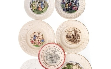 A group seven nursery plates: printed and enamelled, includi...