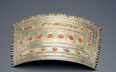 A large and impressive gilded silver pectoral ornament-Turkmenistan - 1880-1920