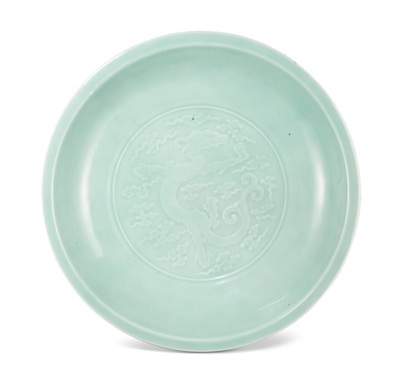 A large imperial celadon-glazed 'dragon' charger