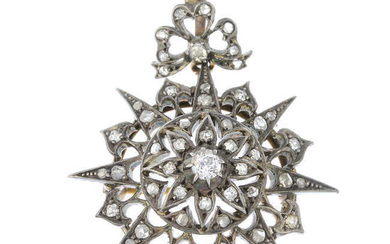 A late 19th century silver and gold old and rose-cut diamond pendant.