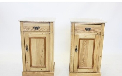 A pair of Victorian pine bedside cupboards, later constructe...