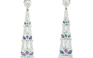 A pair of diamond and multi-colored ear pendants