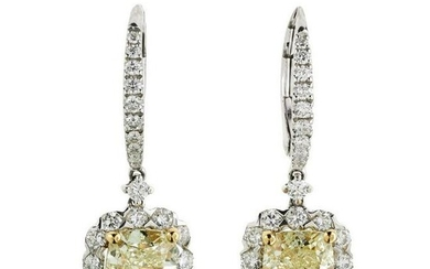A pair of halo diamond Drop Earrings 2.49ct NATURAL
