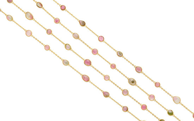 A pair of rose-cut tourmaline station necklaces
