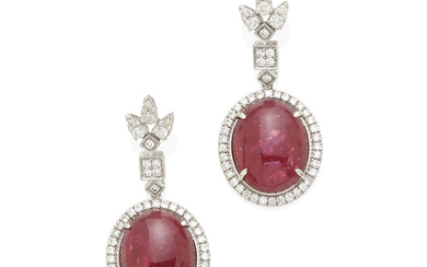 A pair of white gold, pink tourmaline and diamond ear pendants