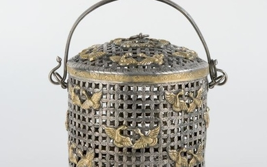 A silver and silver gilt basket and cover