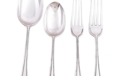 A silver beaded, ribbon and reed pattern part table service by Mappin & Webb