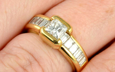 A square-shape and baguette-cut diamond dress ring, by Chaumet.
