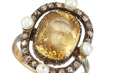 A topaz, diamond and seed pearl cluster...