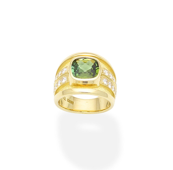 A tourmaline and diamond ring, by